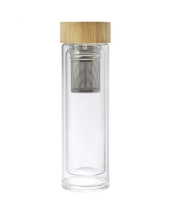 Double-Walled Glass And Bamboo Bottle (420ml)