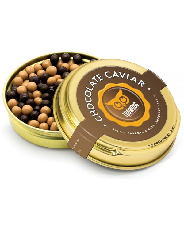 Caviar Tin - Gold - Dark & Salted Caramel Pearls