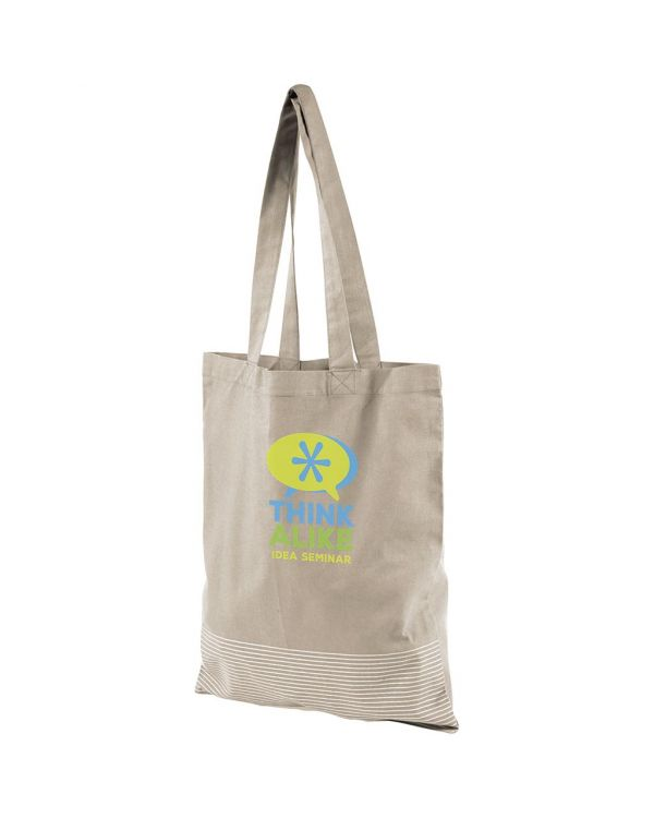 Aylin 140 G/M Silver Lines Cotton Tote Bag