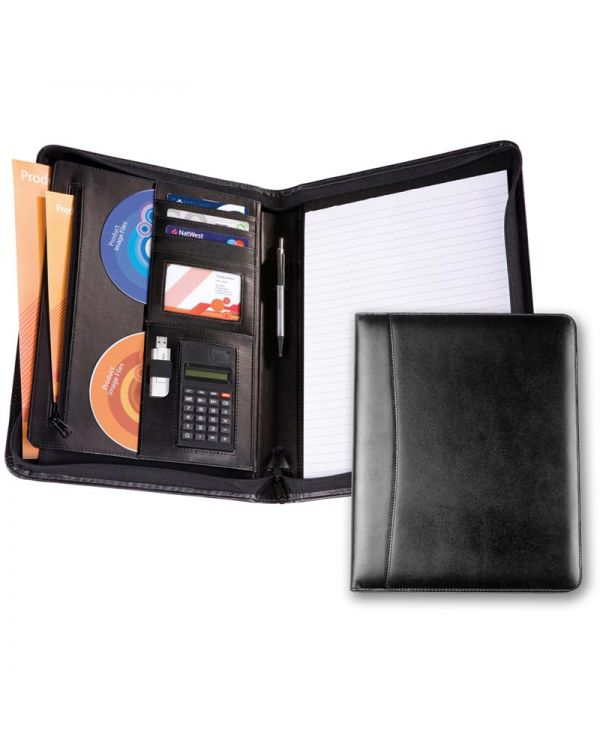 A4 Leather Zipped Folder with Calculator