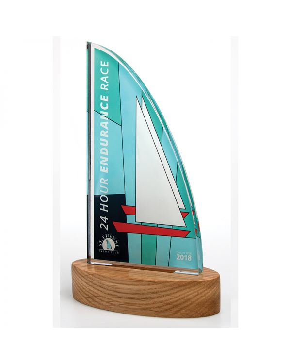Freestanding Acrylic Awards With Real Wood Base