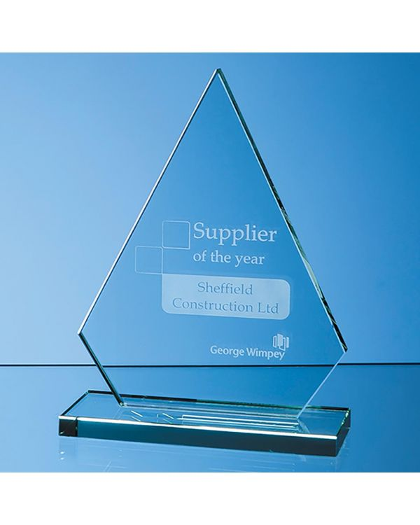19cm x 15cm x 12mm Jade Glass Peak Award