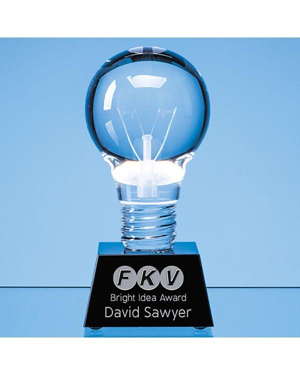 6.5cm Dia Optical Crystal Lightbulb Award Mounted on an Onyx Black Crystal Base