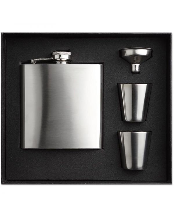 Slimmy Flask Set Slim Hip Flask With 2 Cups Set