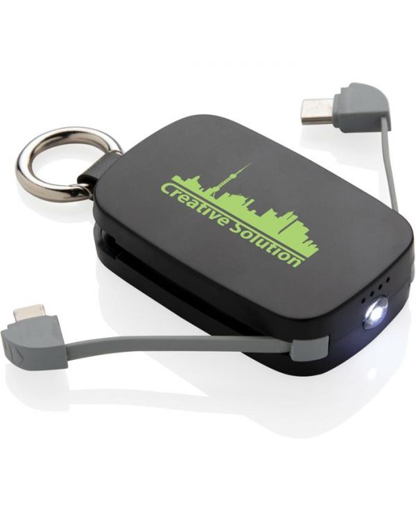 1,200 mAh Keychain Powerbank With Integrated Cables
