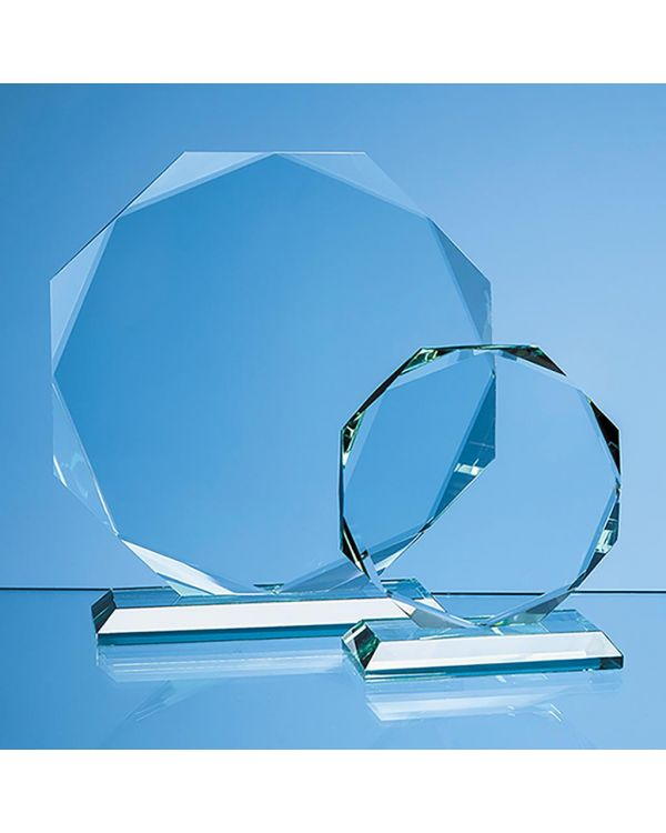 11.5cm x 11.5cm x 15mm Jade Glass Facetted Octagon Award