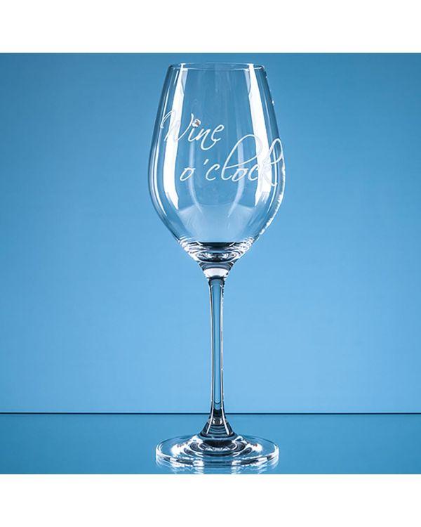 360ml 'Wine o'clock' Diamante Wine Glass
