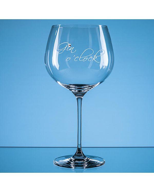 610ml 'Gin o'clock' Diamante Gin Glass