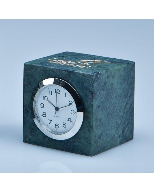 5cm Green Marble Bevel Edged Cube Clock*
