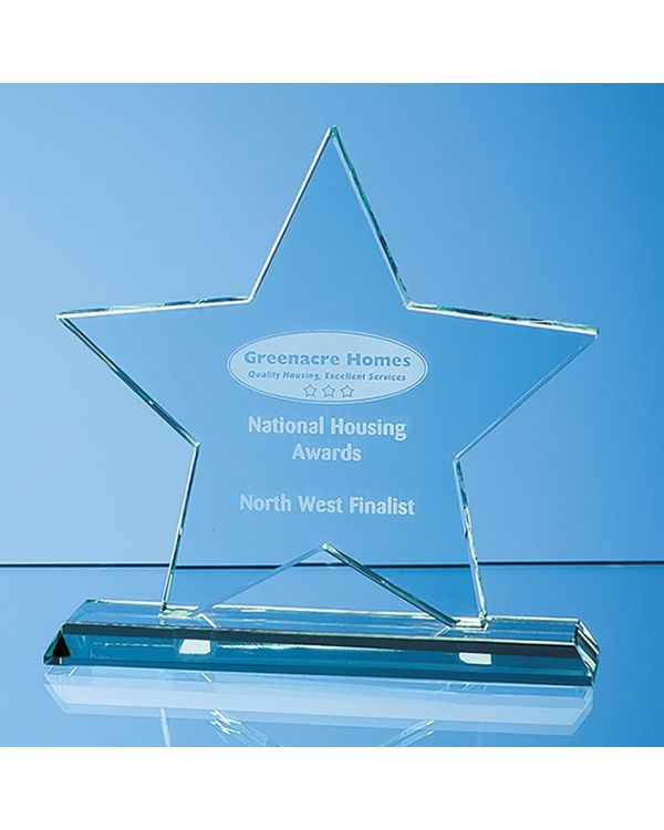 18cm x 18cm x 12mm Mounted Jade Glass Star Award