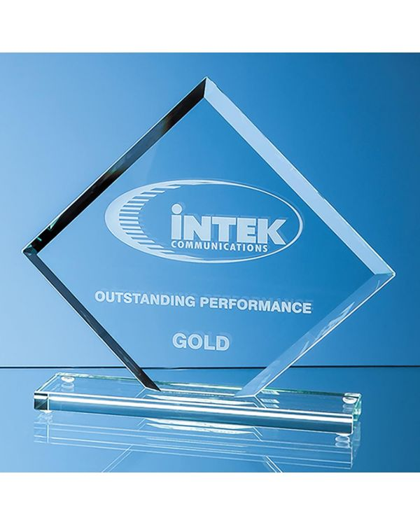 16.5cm x 20cm x 1cm Jade Glass Bevelled Edge Square Award
