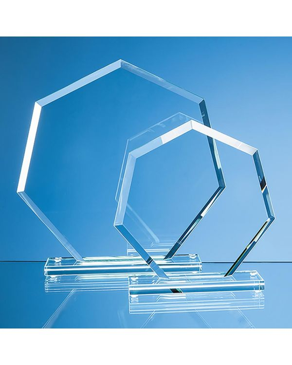 16cm x 17cm x 1cm Jade Glass Bevelled Edge Heptagon Award