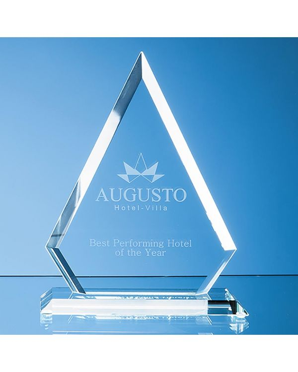 19cm x 15cm x 12mm Jade Glass Bevelled Edge Diamond Award