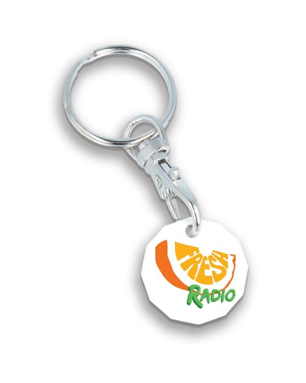Recycled New Pound Trolley Coin Keyring