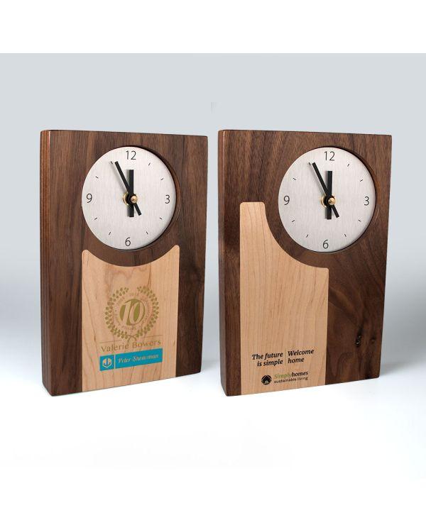 Real wood clocks with wood inlays