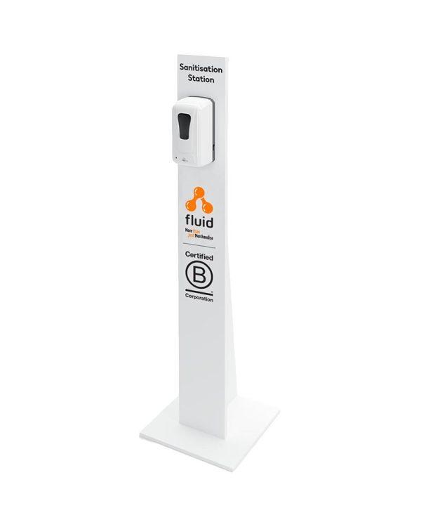 White Freestanding Sanitiser Unit With Automatic Dispenser